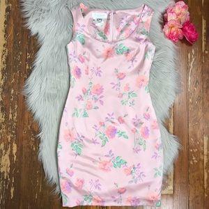 Escada 100% Silk Satin Rose Shift Dress